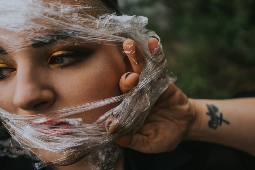 woman with wrapper on her face