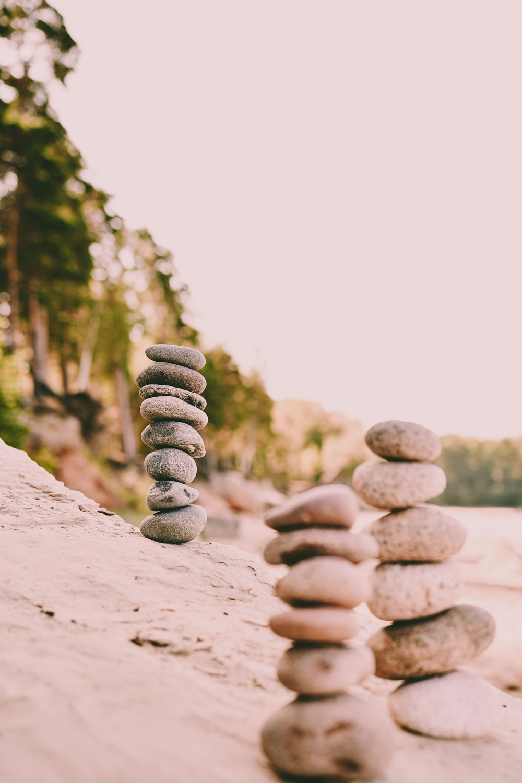 gray stones on focus photography