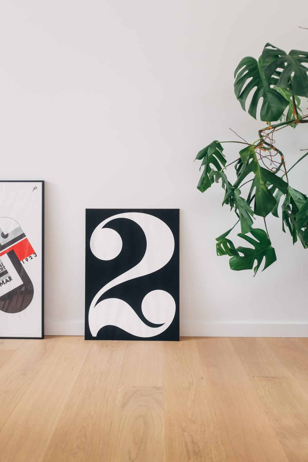 black and white number 2 wall decor