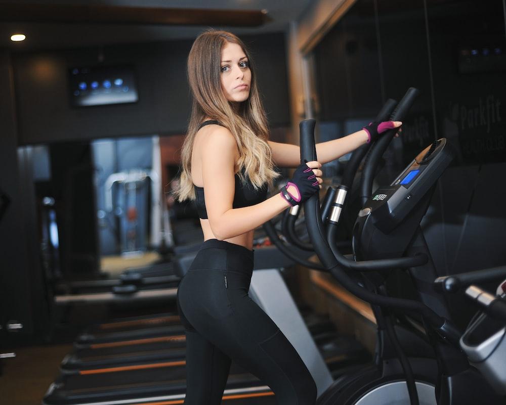 woman on elliptical trainer