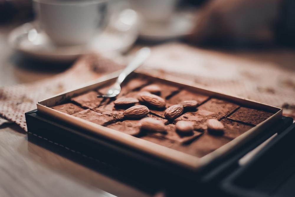 almonds on chocolate bar in box