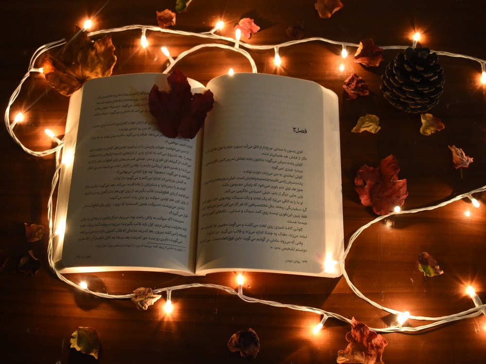 string lights beside opened book