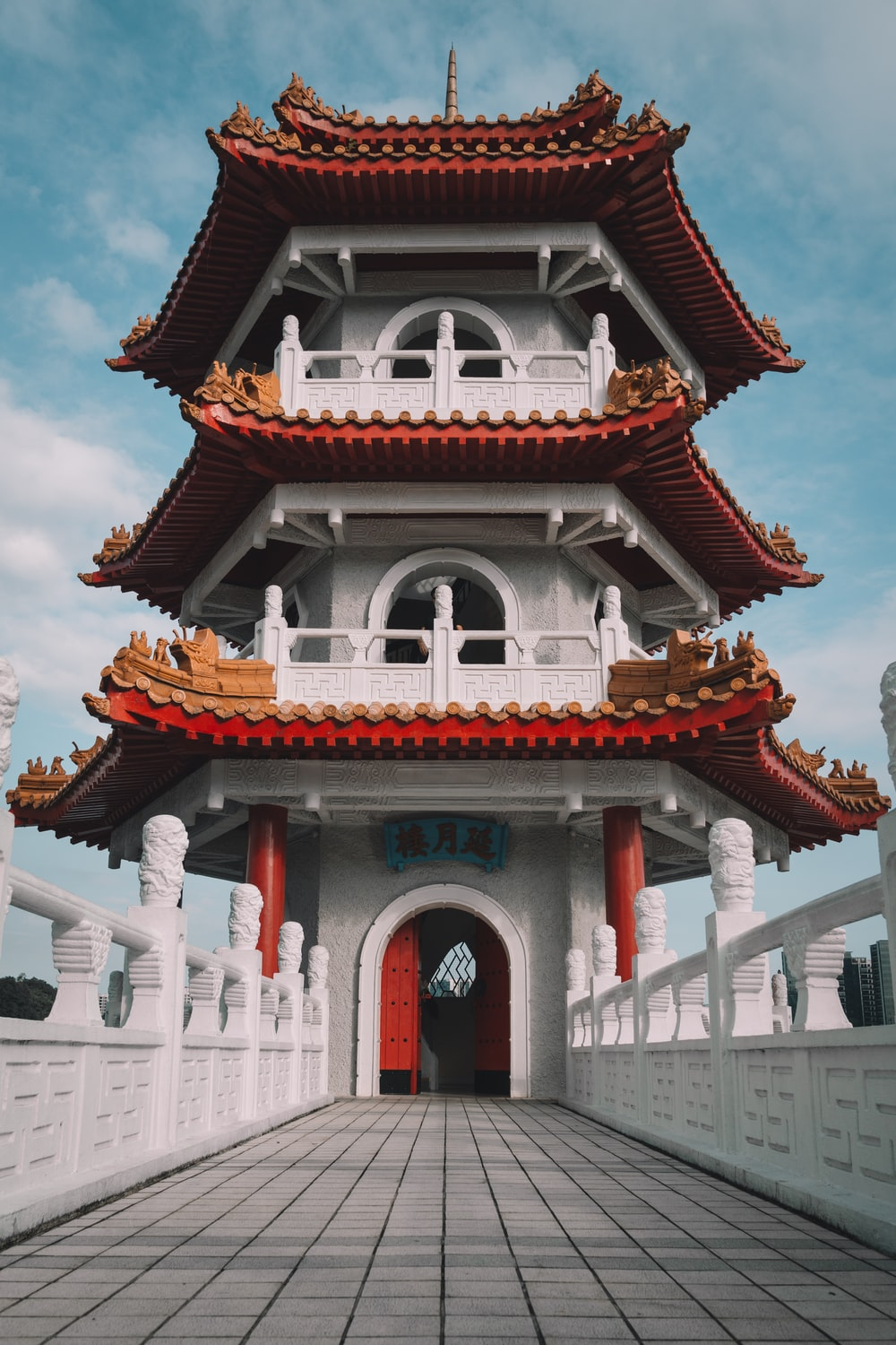 white and red temple