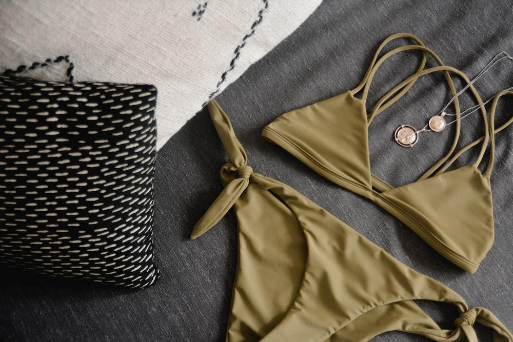 brown string bikini