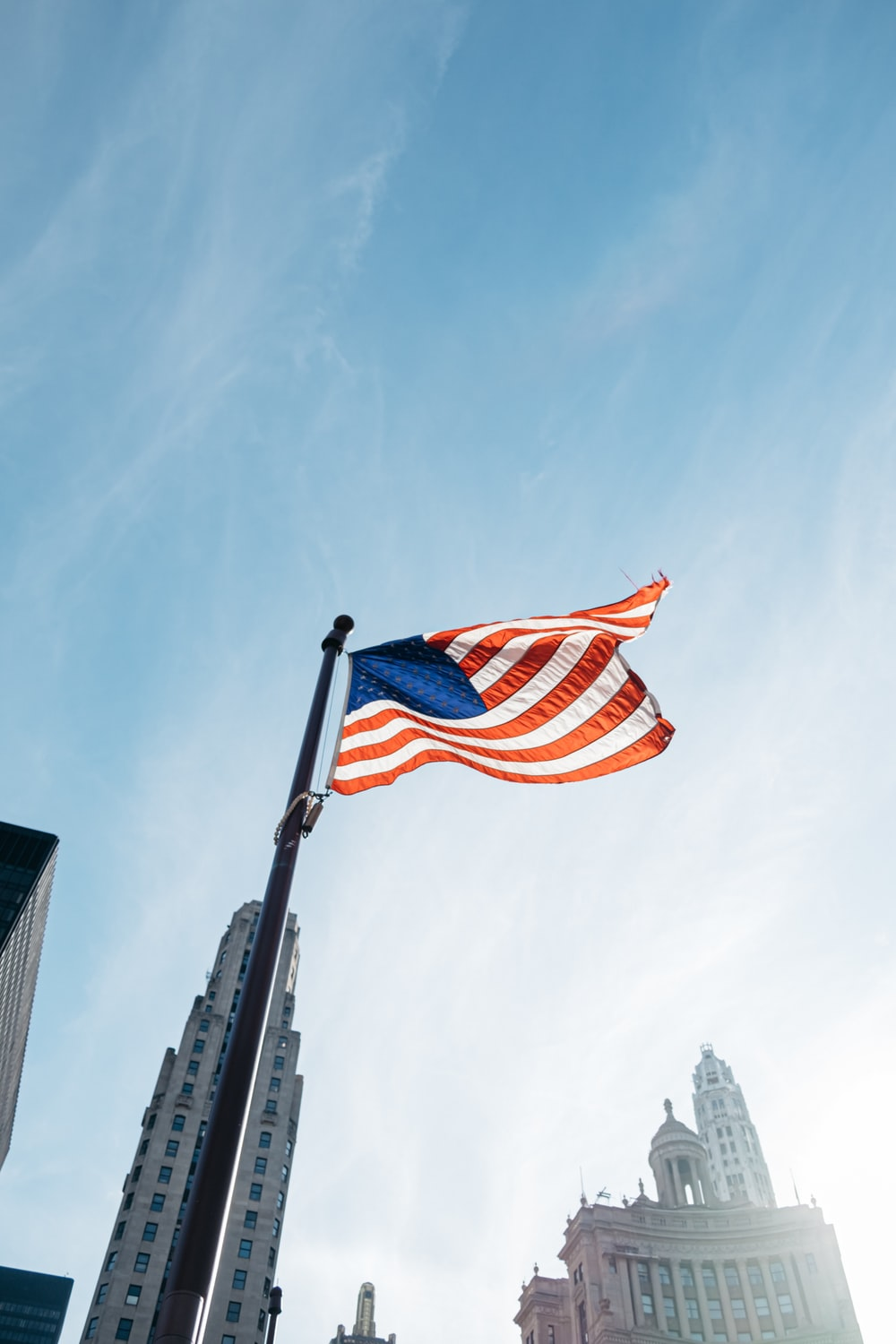 United States of America flag waving during daytime
