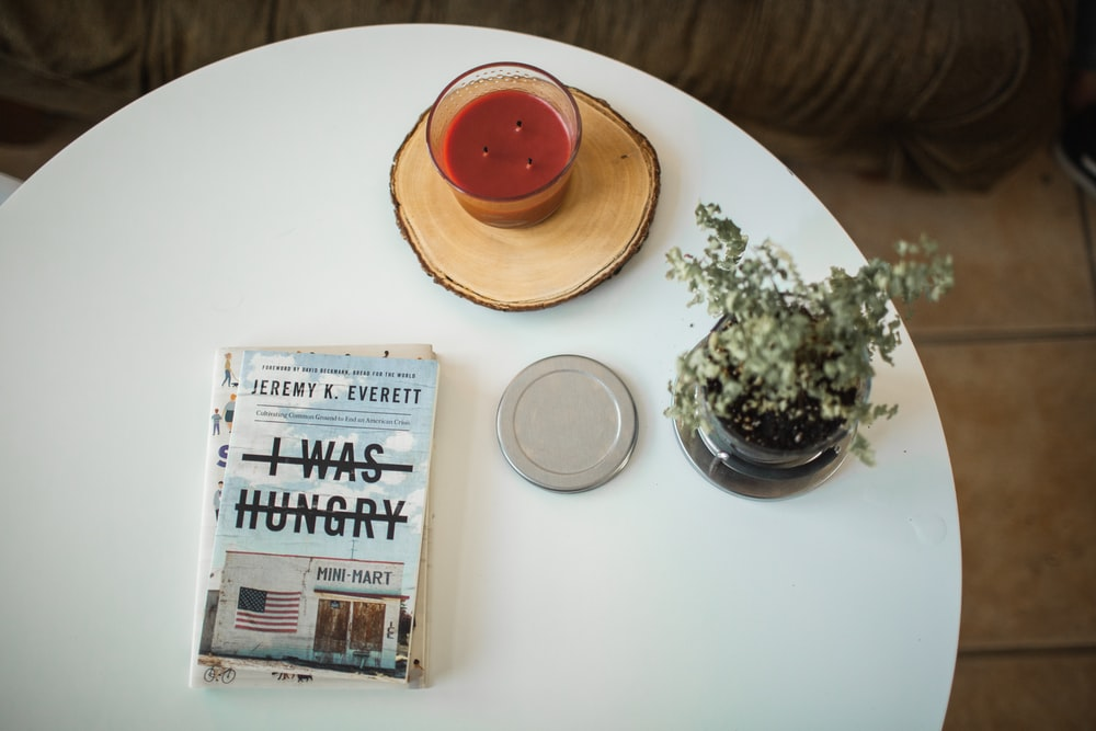 I Was Hungry book on white wooden table