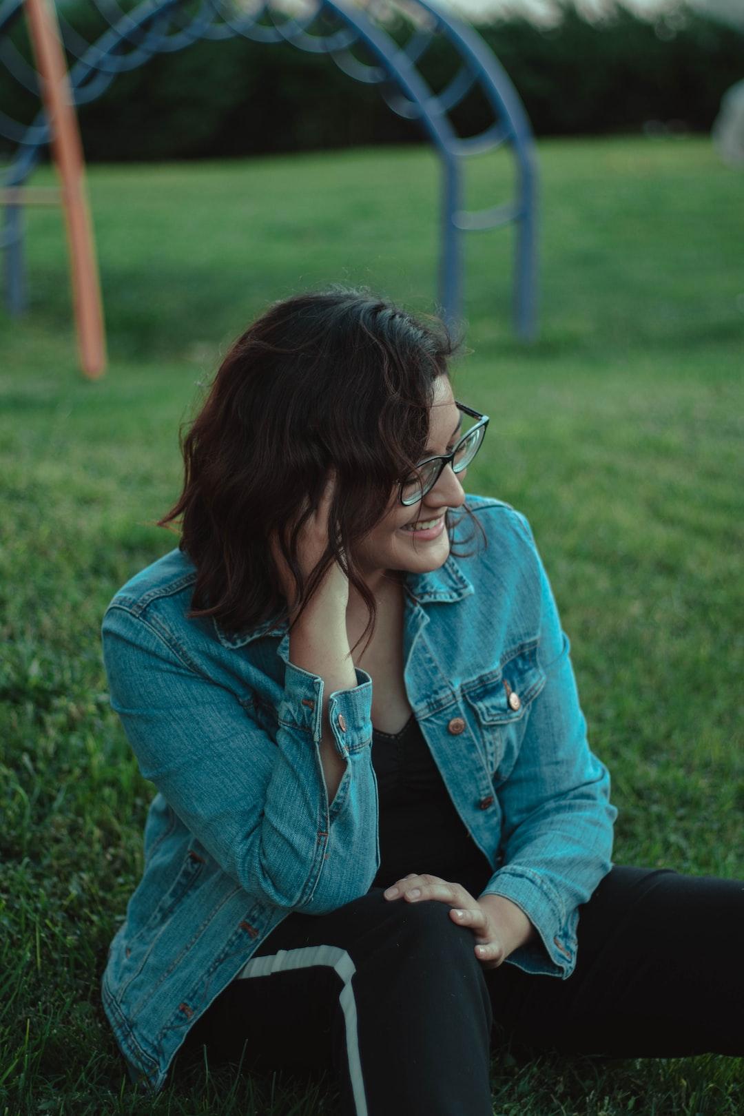 girl smiling at a park