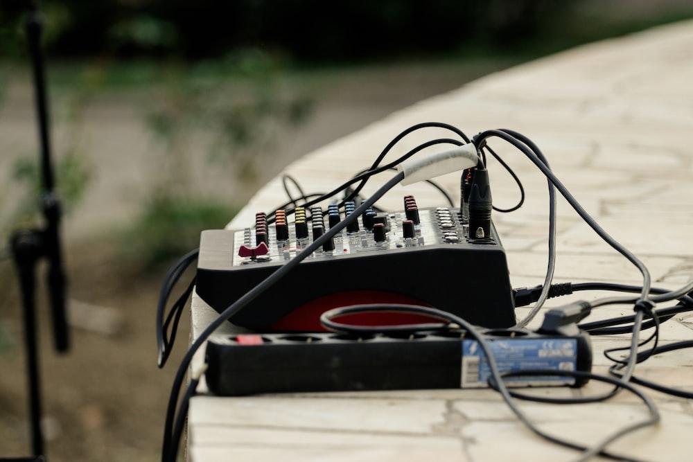 black power strip and audio mixer