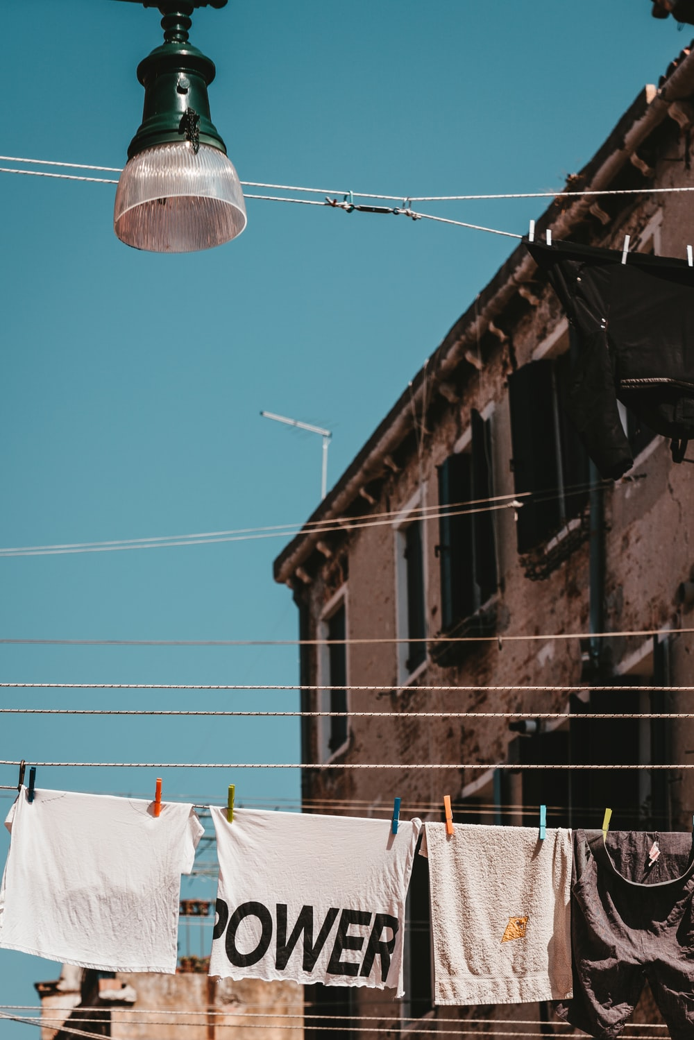 clothes on wire at daytime