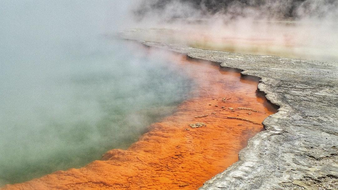 Bright geothermal pools at Rotorua, New Zealand