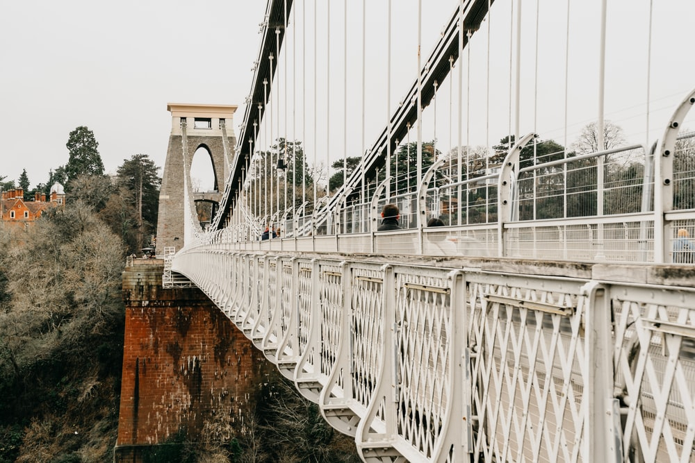 white suspension bridge
