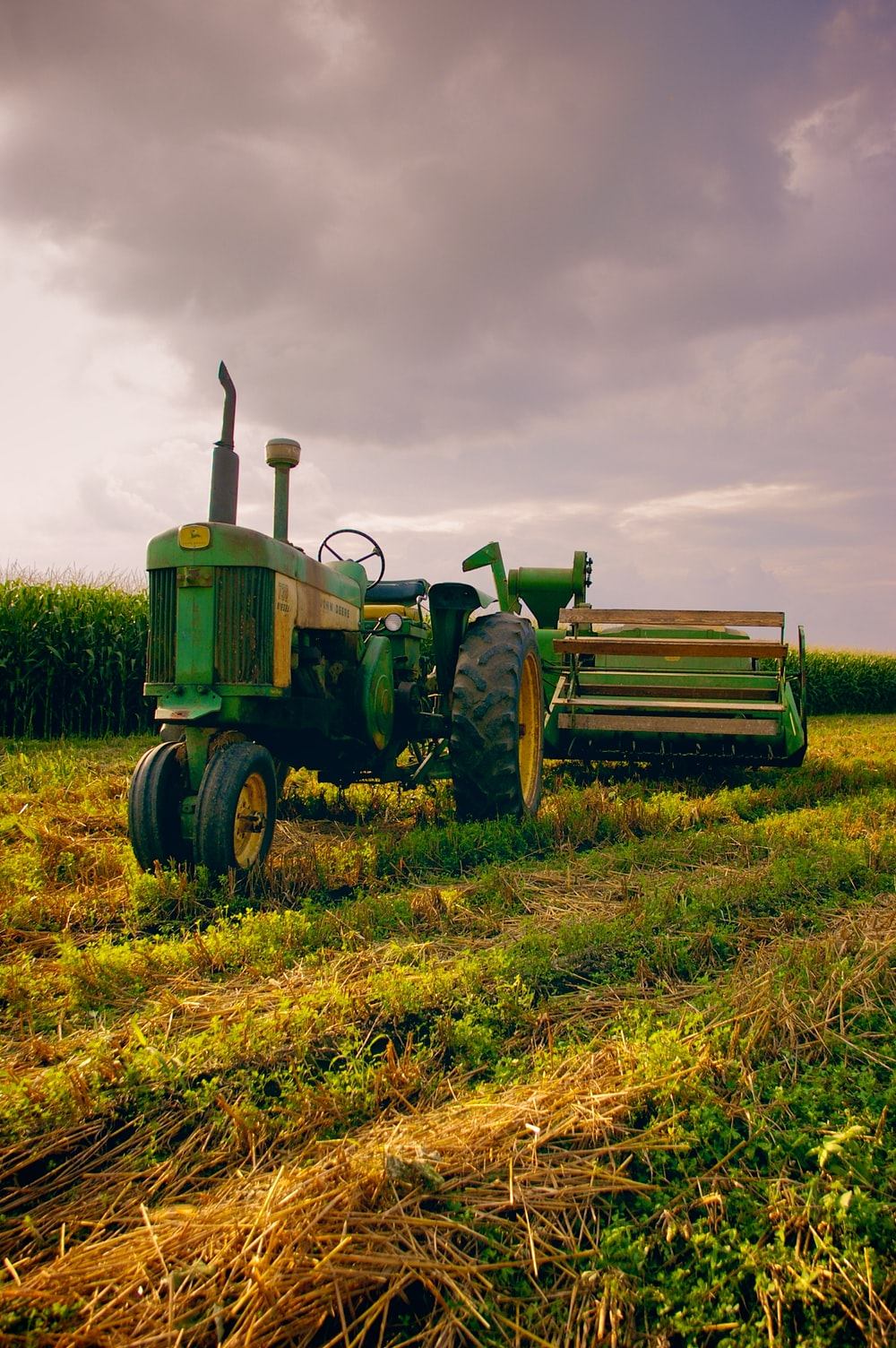 green and yellow tractor
