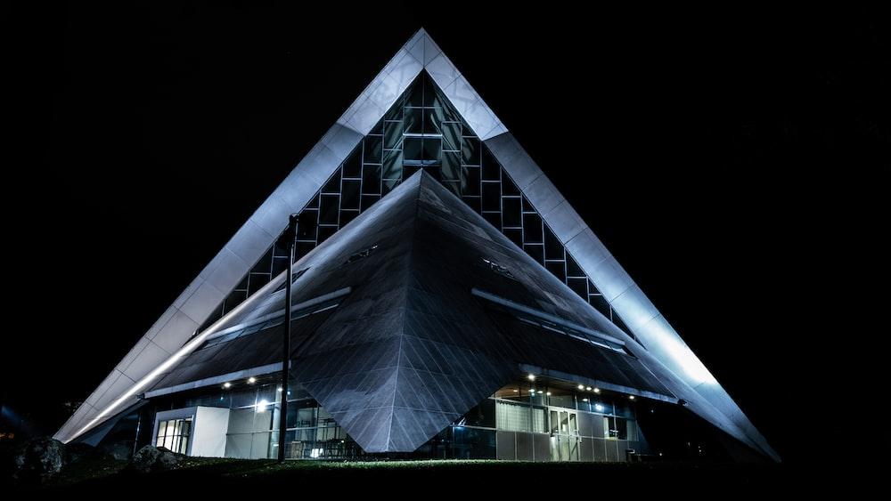 lighted triangular landmark