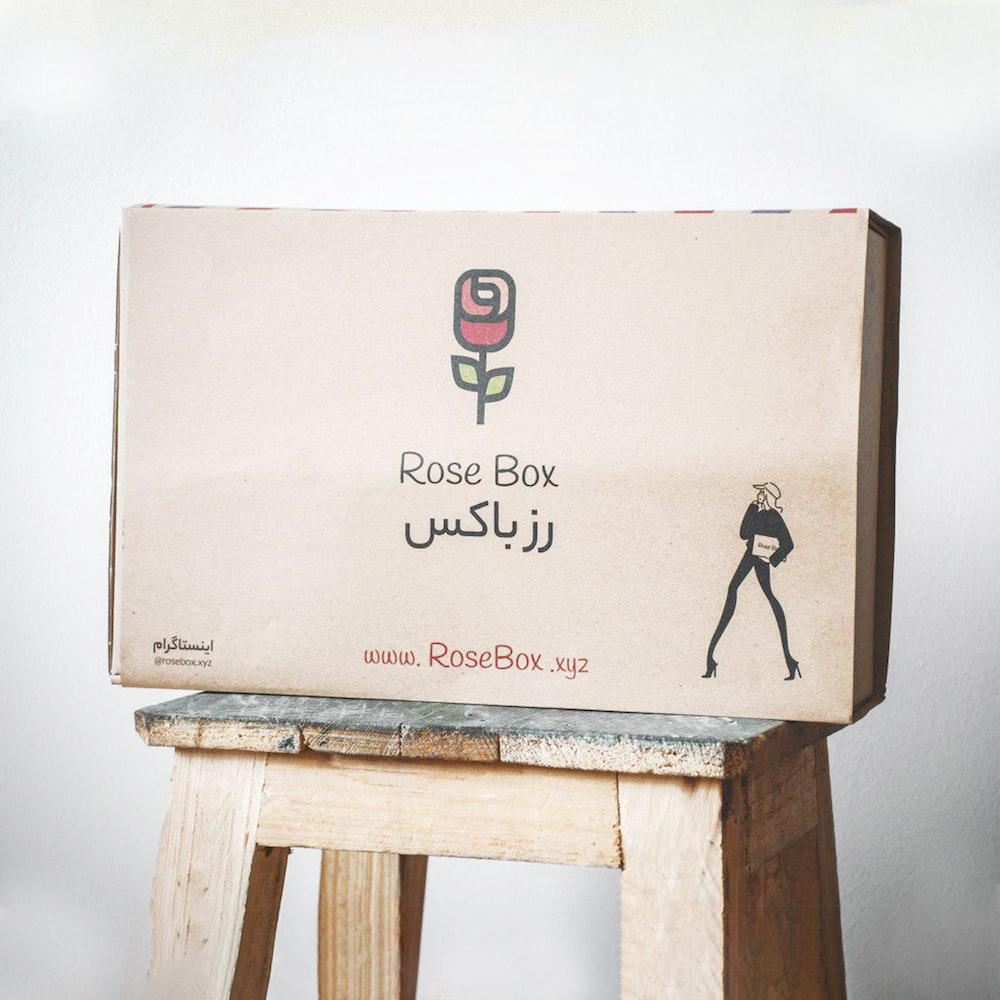 Rose Box box on brown stool