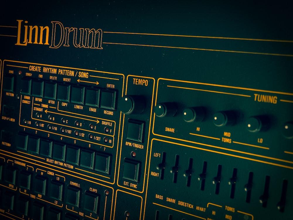 close view of Linn Drum machine
