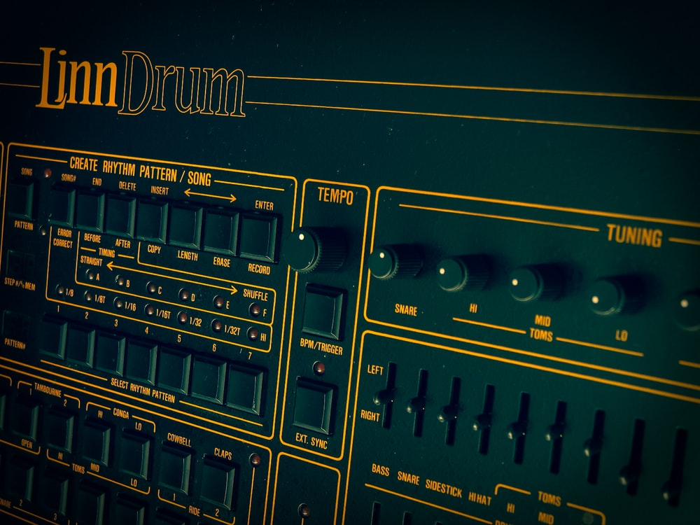 close view of Linn Drum machine