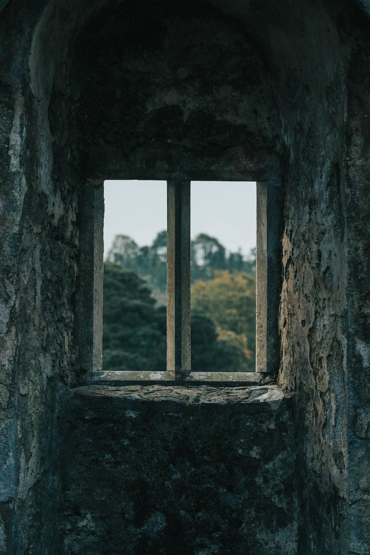 closed gray framed window