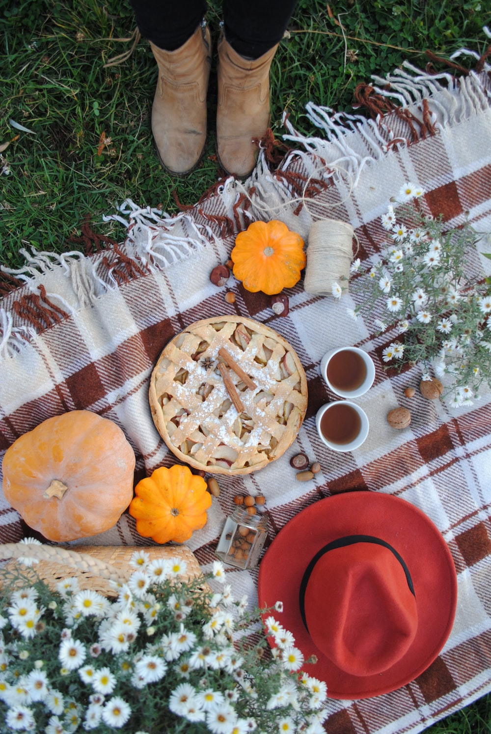 pie beside pumpkins, drinks, and hat on plaid textile