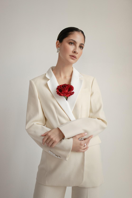 woman wearing white blazer