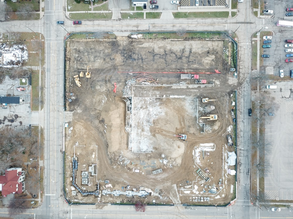 aerial photo of empty lot