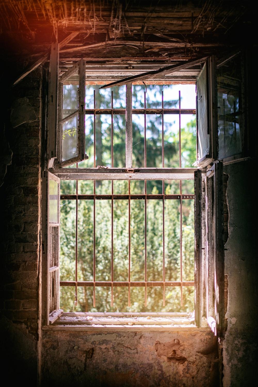 white metal window
