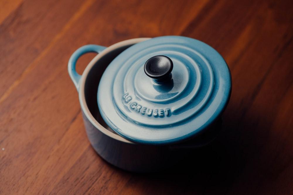 round blue ceramic bowl