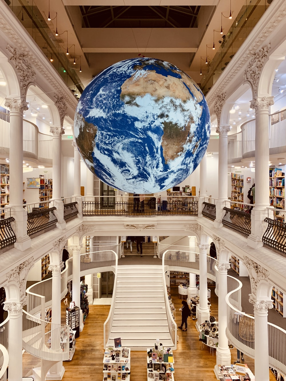 earth hanging decor inside library