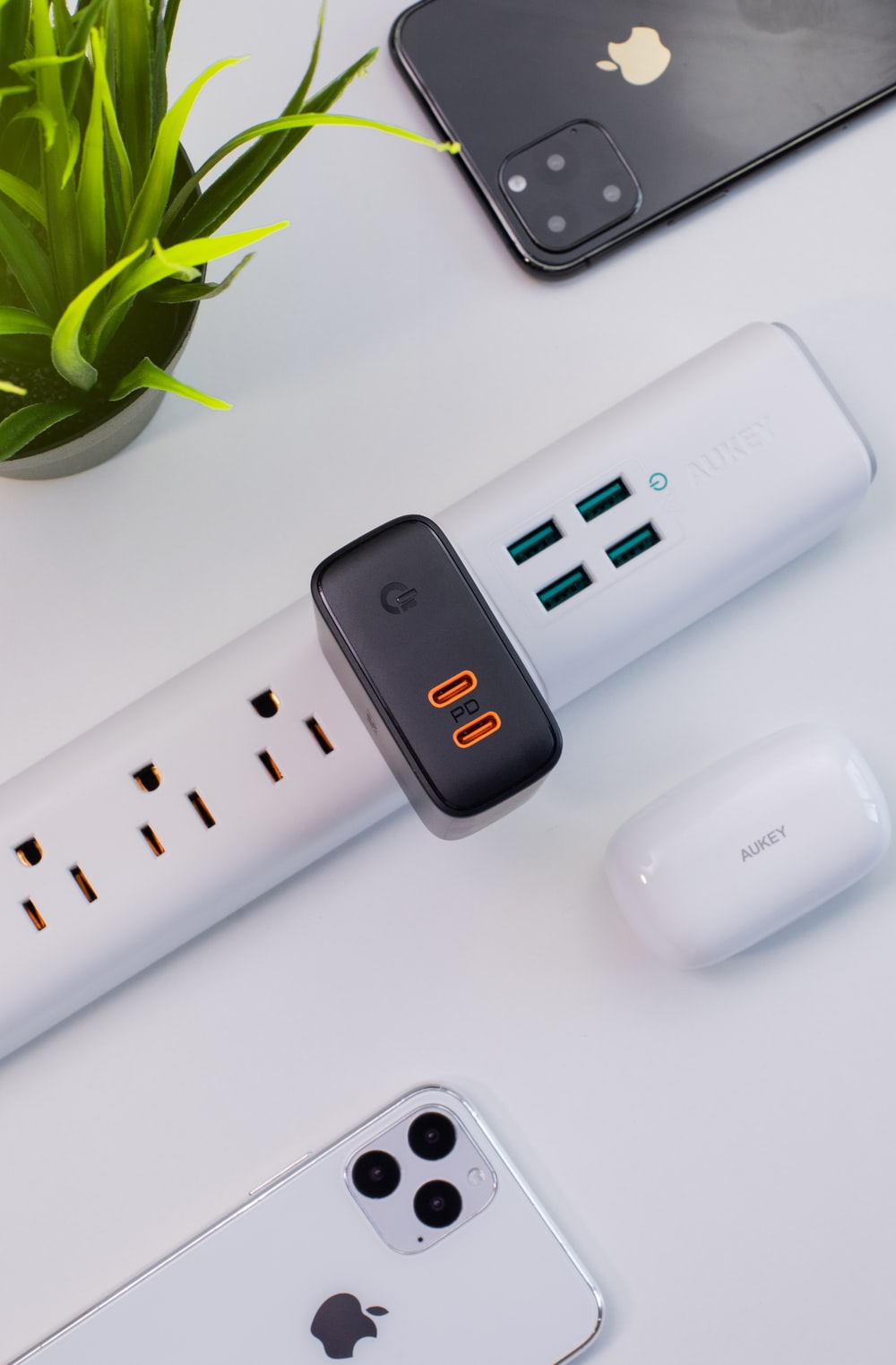 black power adapter plugged in power strip