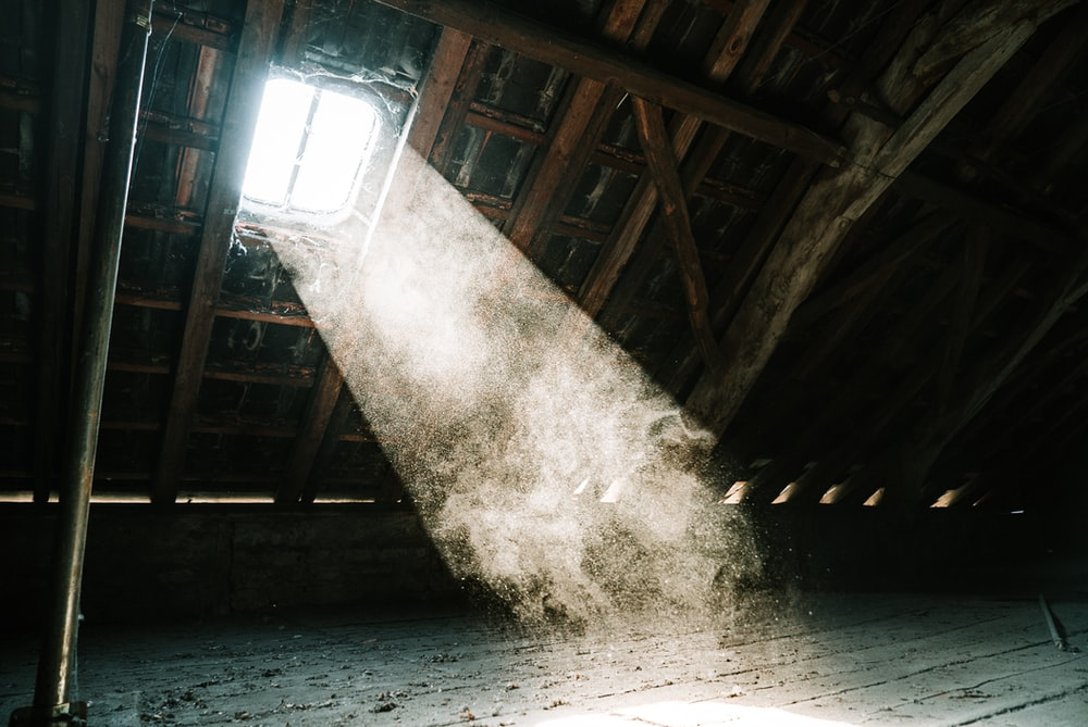 view of sun's ray at the attic