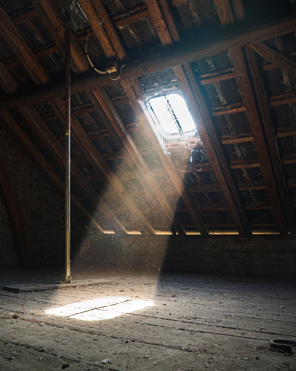 sun rays inside wooden house