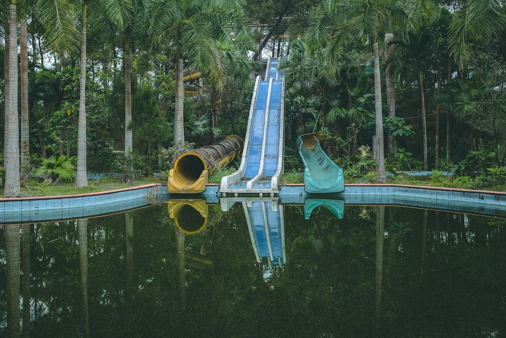 swimming pool near green trees during daytime