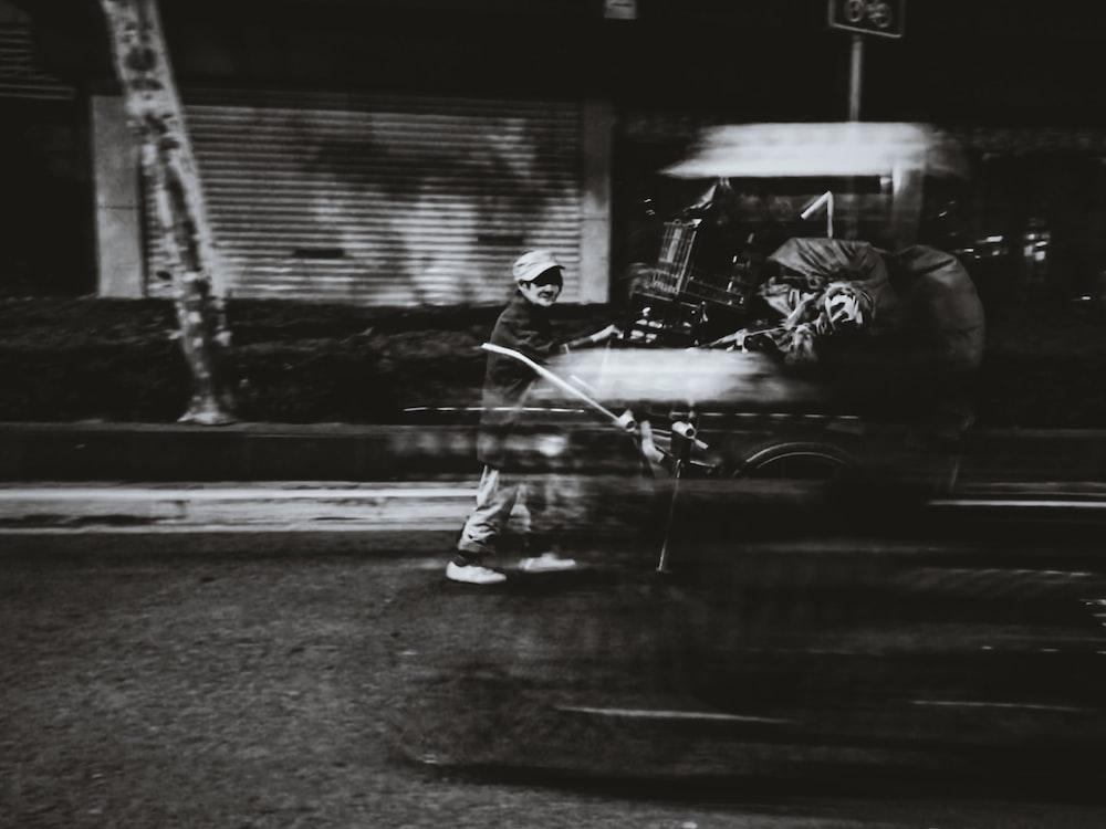 greyscale photography of vehicle