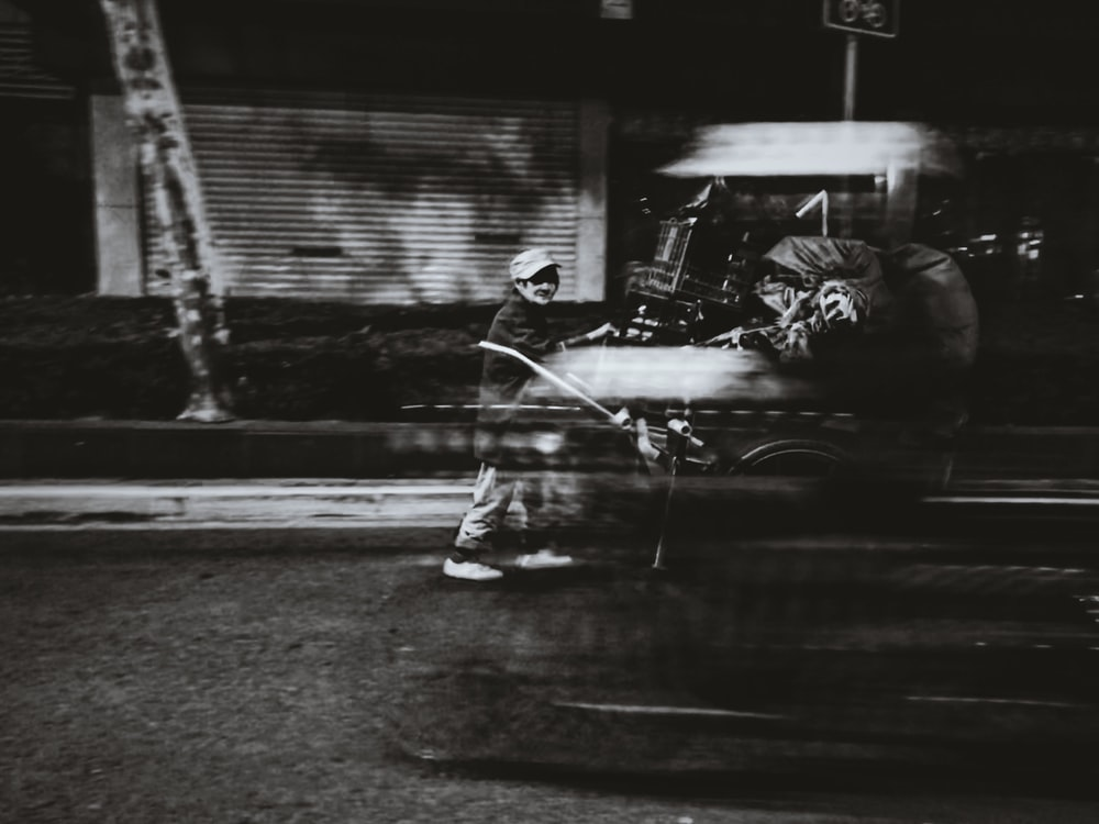 greyscale photography of vehicle
