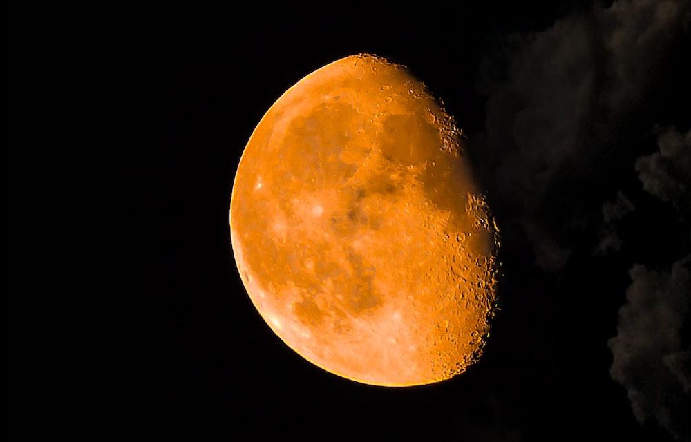 round yellow moon