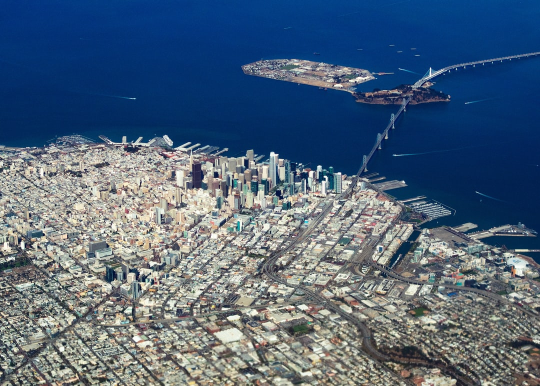 San Francisco downtown, Treasure Island, and North Beach from the air