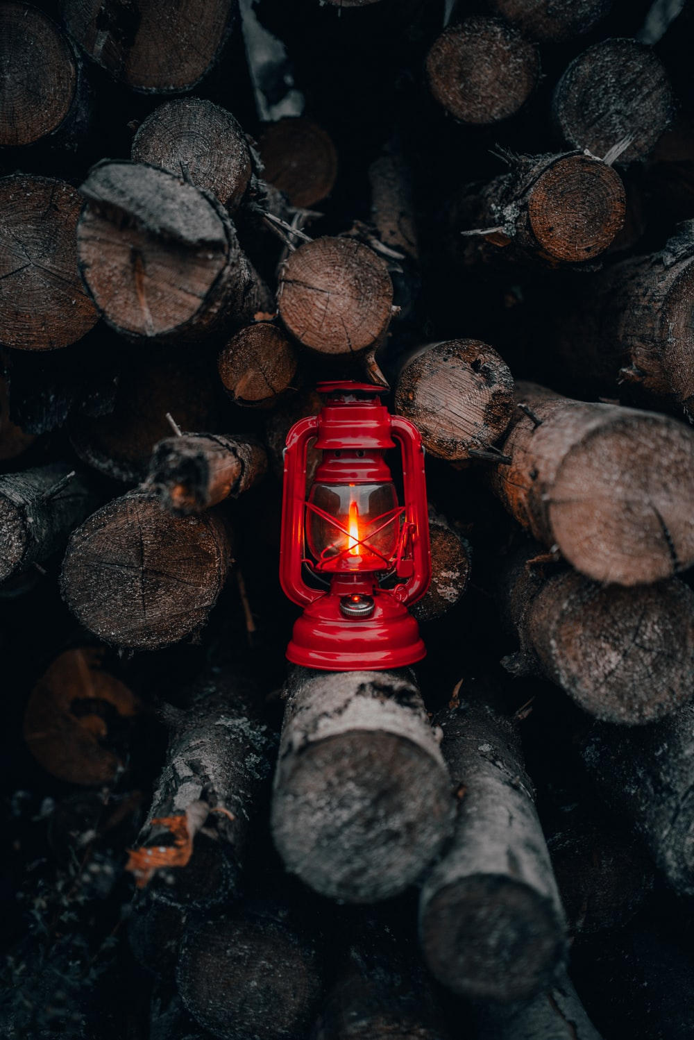 red lantern lamp on piled fire wood