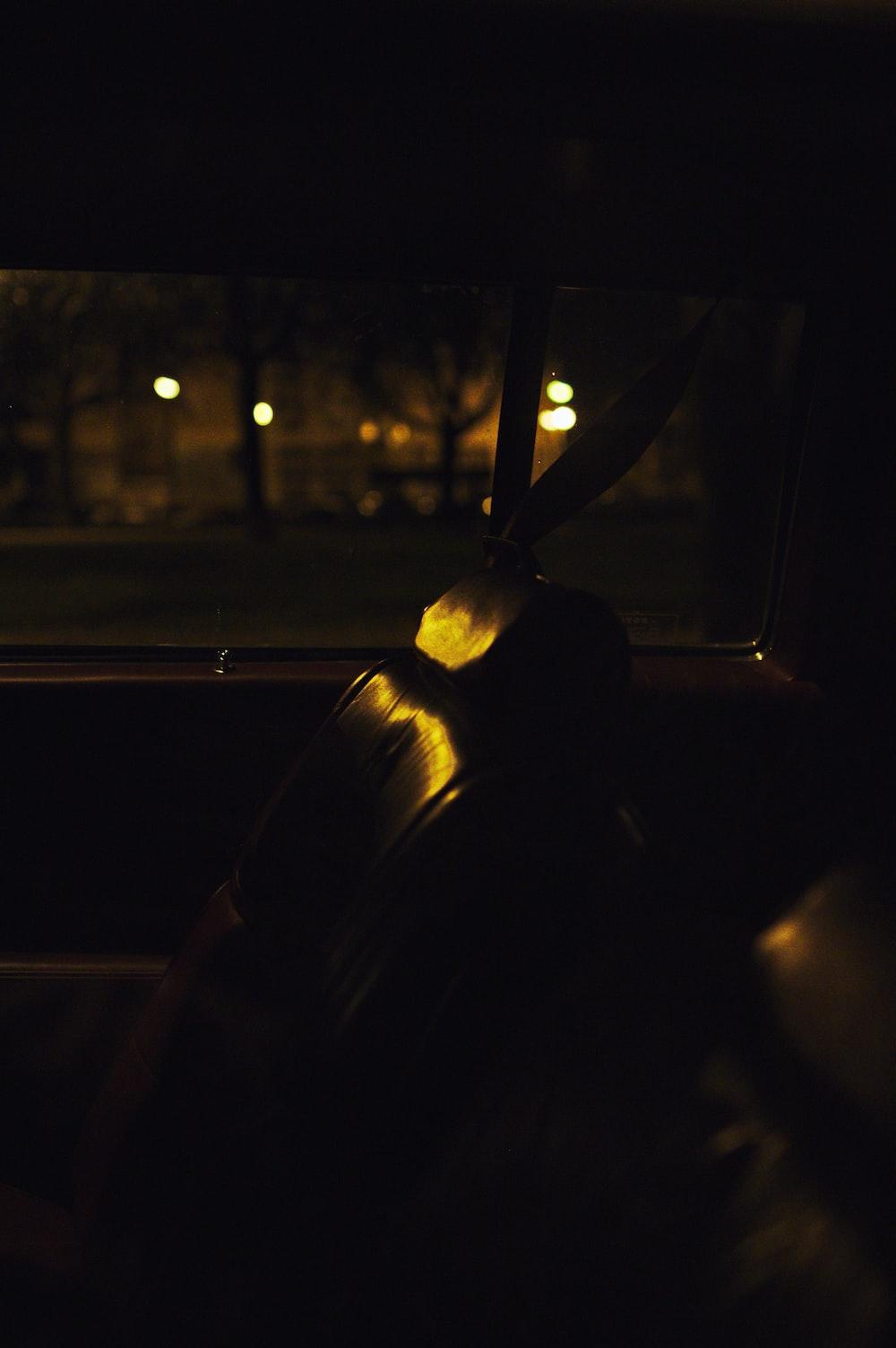 empty vehicle passenger seat at nighttime