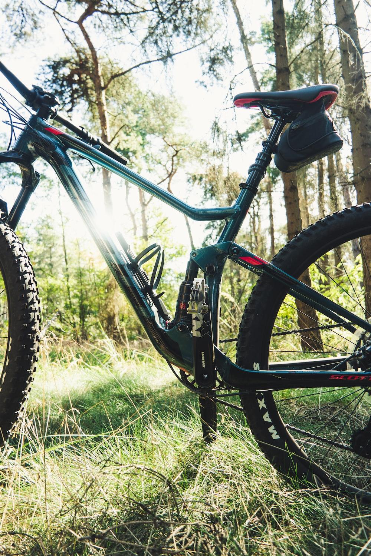 black full-suspension bike
