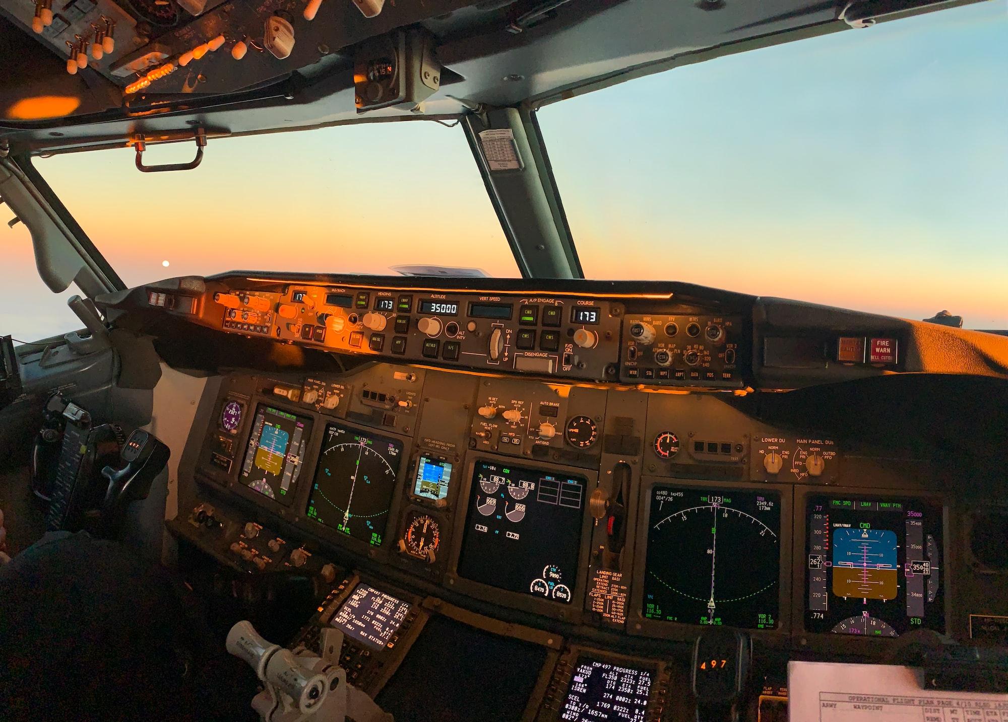 Commercial airliner cockpit