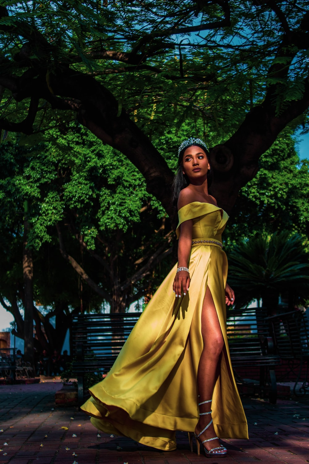 woman wearing yellow off-shoulder silt dress with silver tiara