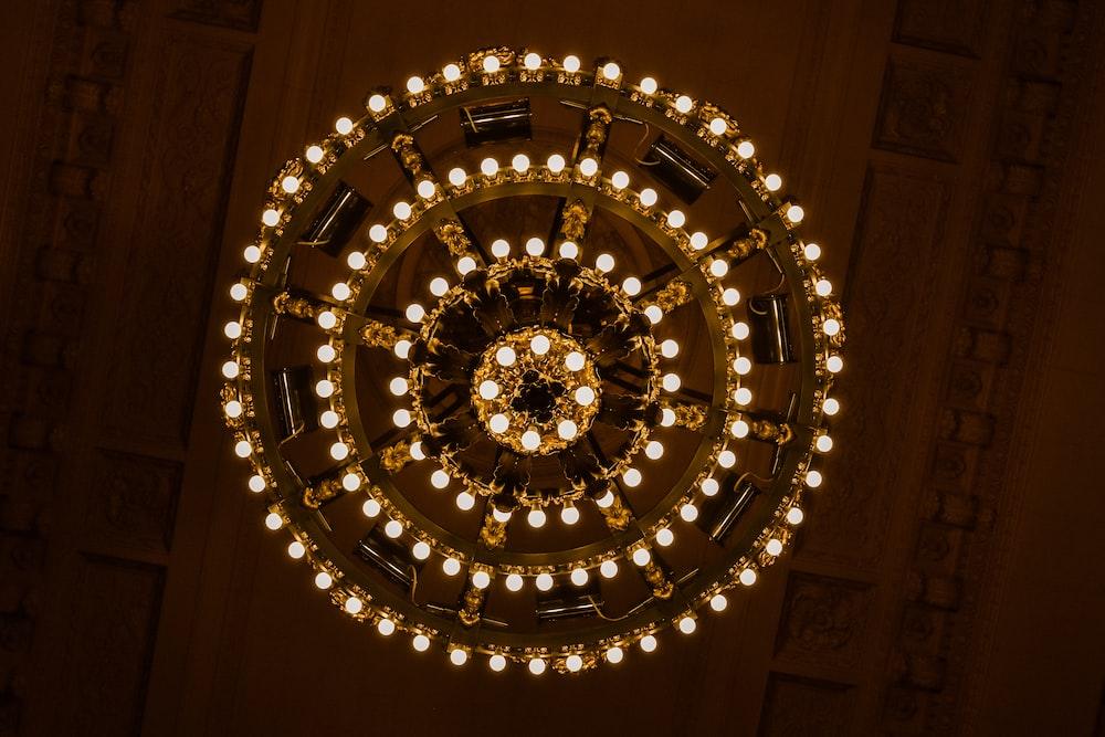 turned on chandelier