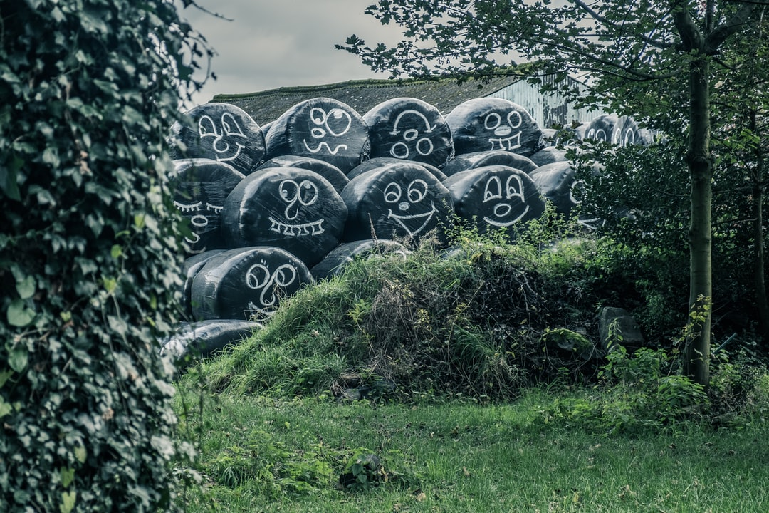 Faces on plastic covering of hay bales