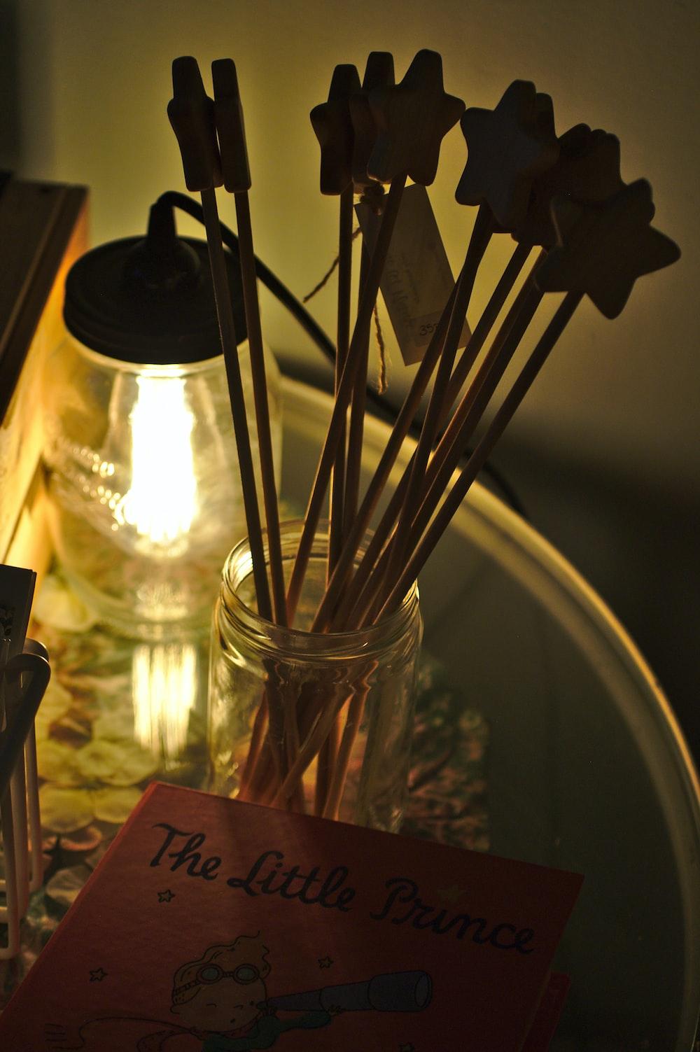brown star sticks inside jar