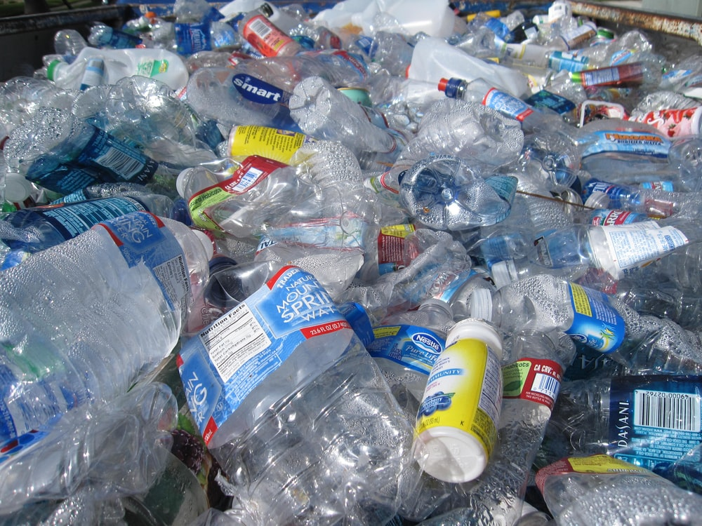 blue labeled plastic bottles