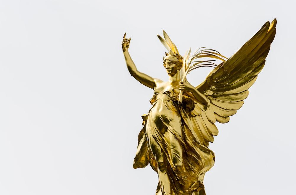 gold female angel statue