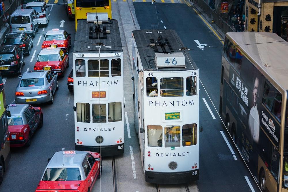 white-and-black Phantom trams during daytime