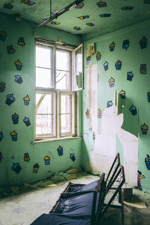 room with broken futon