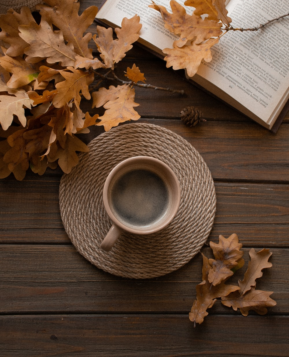 white ceramic mug on wicker saucer beside books with leaves