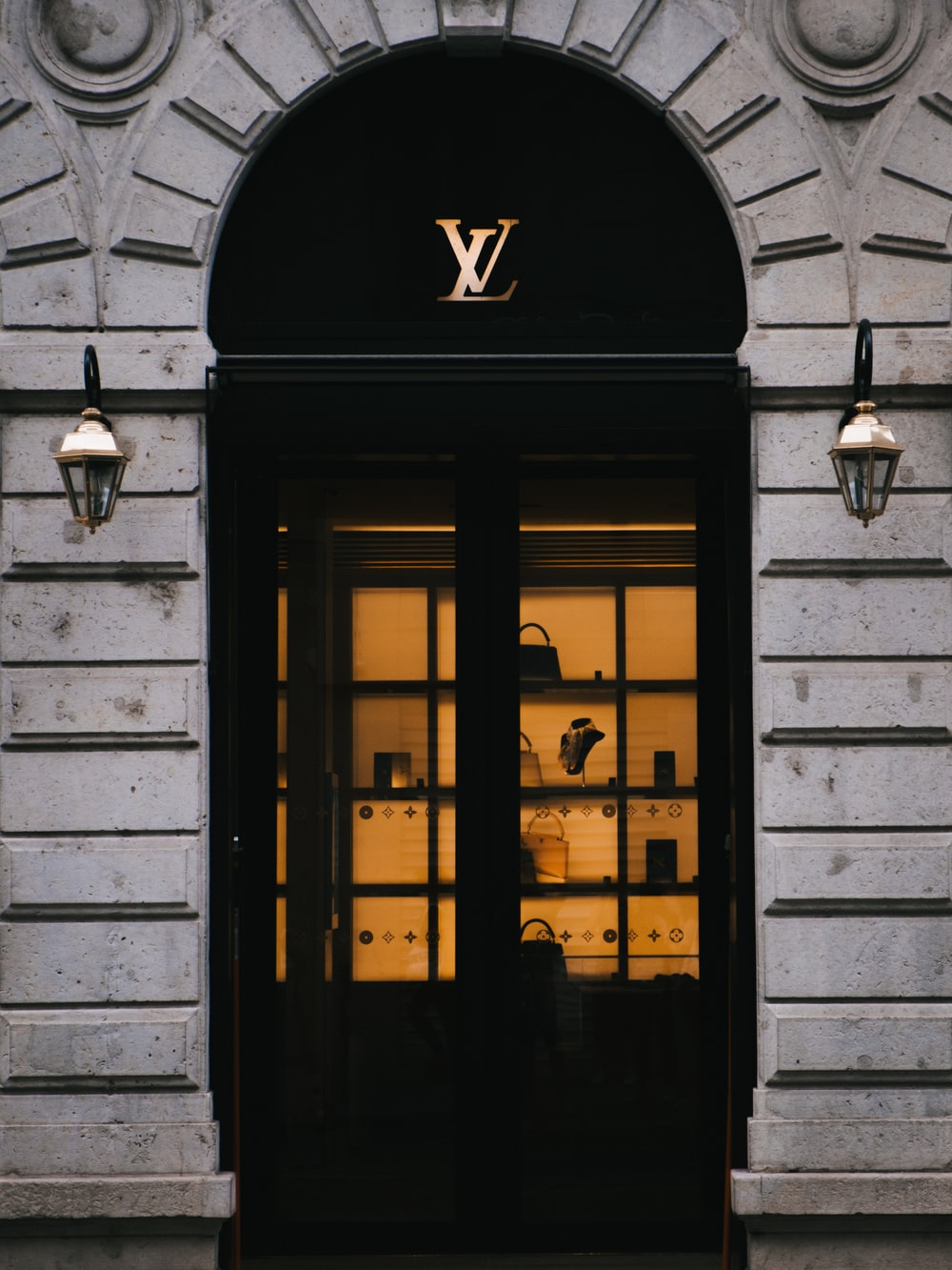 closed Louis Vuitton store door