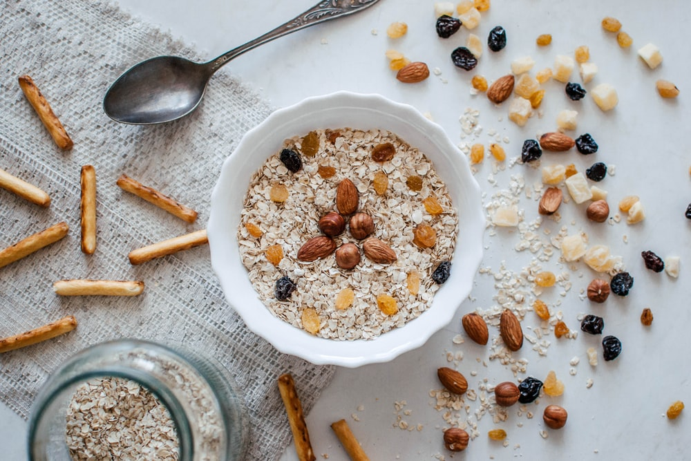 nuts and bowl of cereals
